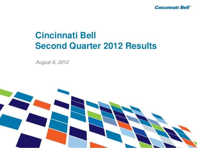Cincinnati BellSecond Quarter 2012 ResultsAugust 8, 2012