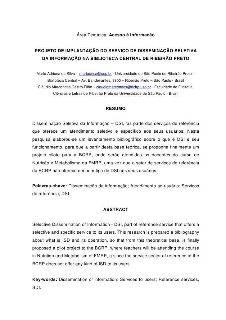 Área Temática: Acesso à informação    PROJETO DE IMPLANTAÇÃO DO SERVIÇO DE DISSEMINAÇÃO SELETIVA        DA INFORMAÇÃO NA B...