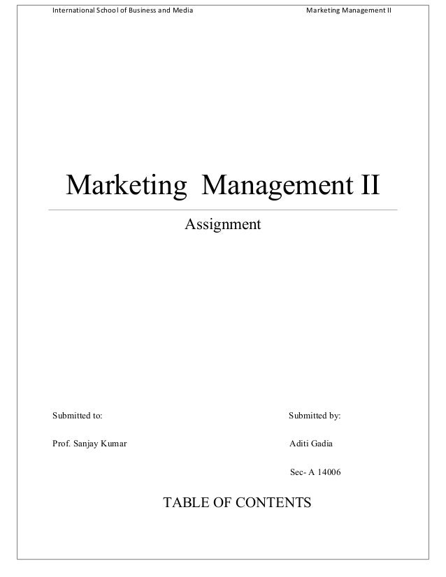 International School of Business and Media  Marketing Management II  Marketing Management II Assignment  Submitted to:  Su...