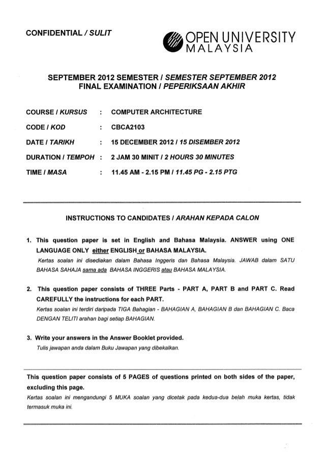 CONFIDENTIAL /  SULIT     OPEN UNIVERSITY MALAYS  A  SEPTEMBER 2012 SEMESTER!  SEMESTER SEPTEMBER 2012 FINAL EXAMINATION I...