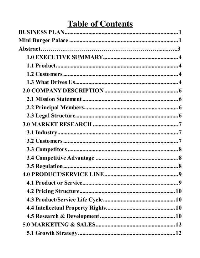 Burger business plan