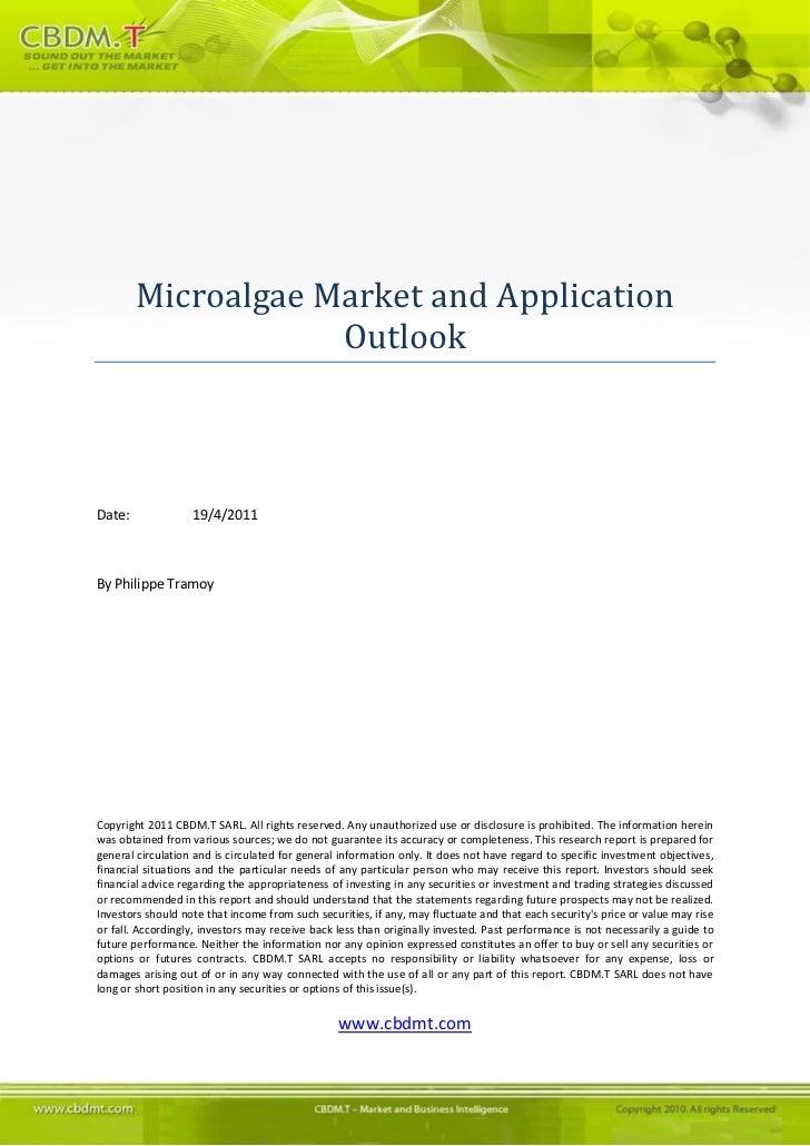 Cbdmt Microalgae Market And Application Outlook