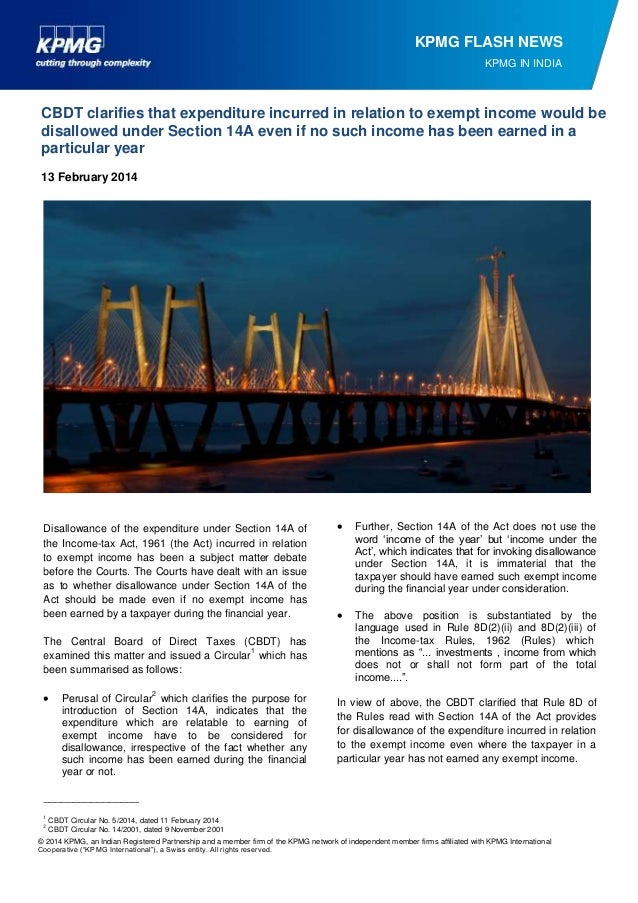KPMG FLASH NEWS KPMG IN INDIA  CBDT clarifies that expenditure incurred in relation to exempt income would be disallowed u...