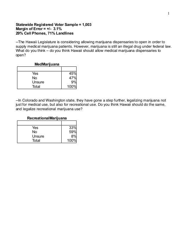 1 Statewide Registered Voter Sample = 1,003 Margin of Error = +/- 3.1% 29% Cell Phones, 71% Landlines --The Hawaii Legisla...
