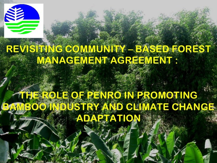 REVISITING COMMUNITY – BASED FOREST MANAGEMENT AGREEMENT :  THE ROLE OF PENRO IN PROMOTING BAMBOO INDUSTRY AND CLIMATE CHA...