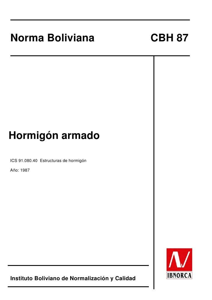 Codigo Boliviano del Hormigon CBH 87