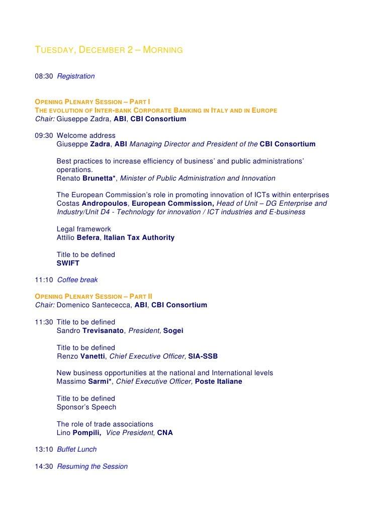 Cbi December3 And 4 2008 Agenda