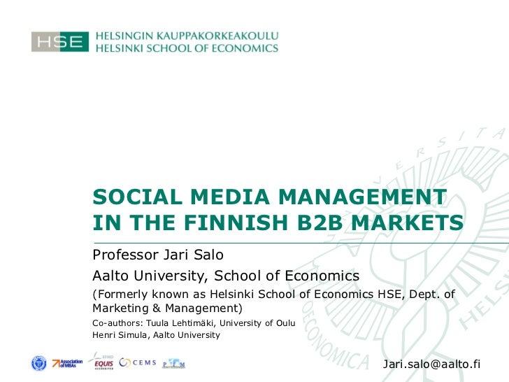 Salo CBIM 2010 social media in industrial marketing