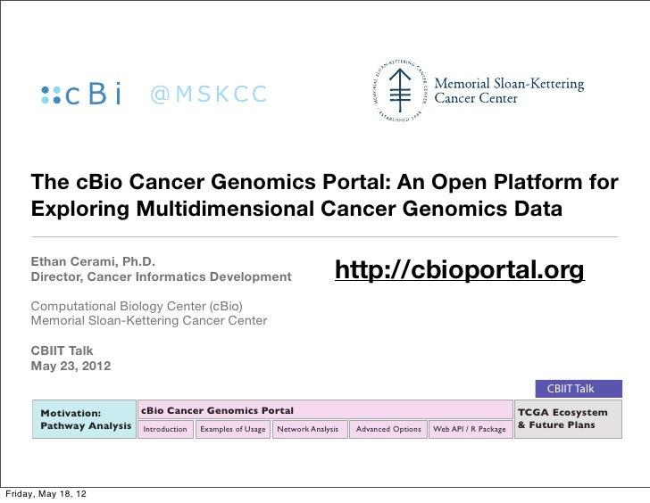 The cBio Cancer Genomics Portal: An Open Platform for     Exploring Multidimensional Cancer Genomics Data     Ethan Cerami...