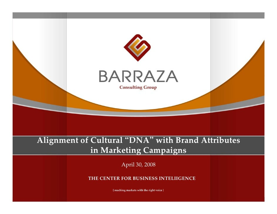 "Alignment of Cultural ""DNA"" with Brand Attributes               in Marketing Campaigns                        April 30, 20..."