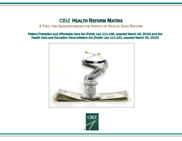 CBIZ HEALTH REFORM MATRIX A TOOL FOR UNDERSTANDING THE IMPACT OF HEALTH CARE REFORM Patient Protection and Affordable Care...