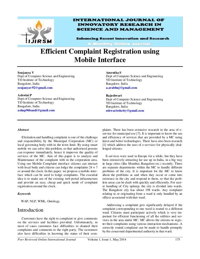 Peer Reviewed Online International Journal Volume 1, Issue 1, May 2014 175 Efficient Complaint Registration using Mobile I...
