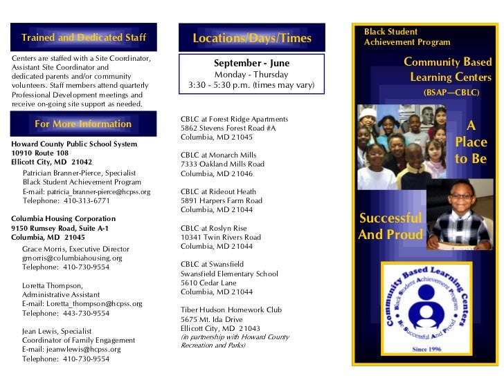Community Based Learning Centers Brochure