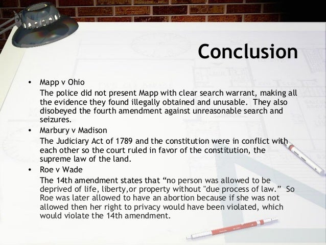 mapp v ohio essay Mapp vs ohio issues:the search of mapp's home was not legal and the evidence admissible under state law and criminal procedure why was the case heard:this case clearly overruled wolf v.