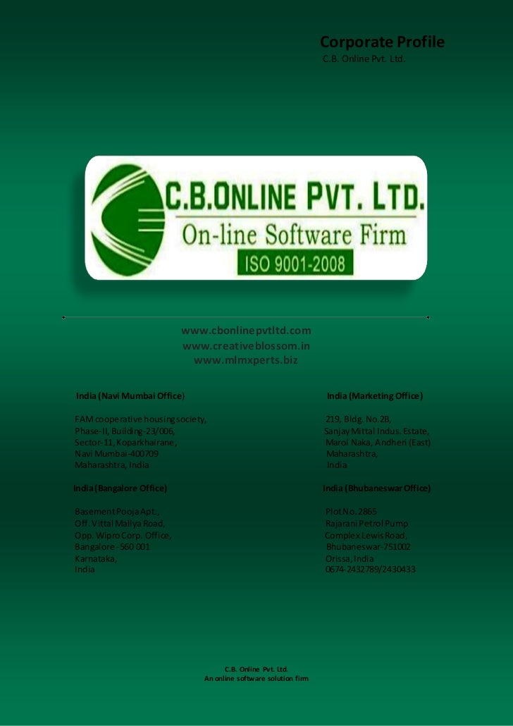 C.B. Online Pvt. Ltd. Corporate Profile