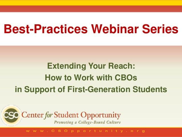 CSO Webinar: Extending Your Reach