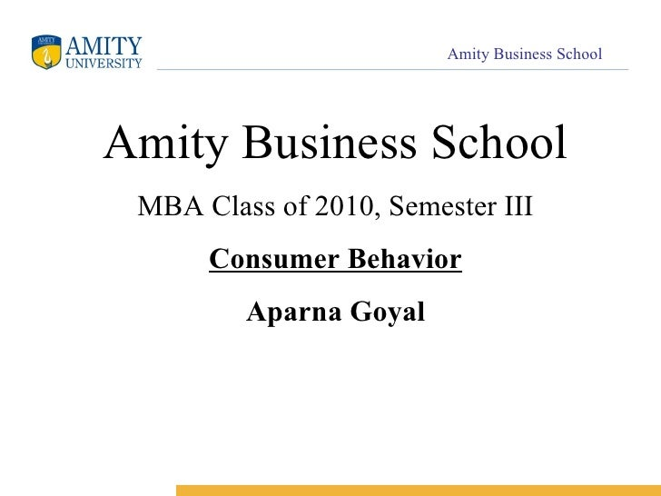 Amity Business School MBA Class of 2010, Semester III Consumer Behavior Aparna Goyal