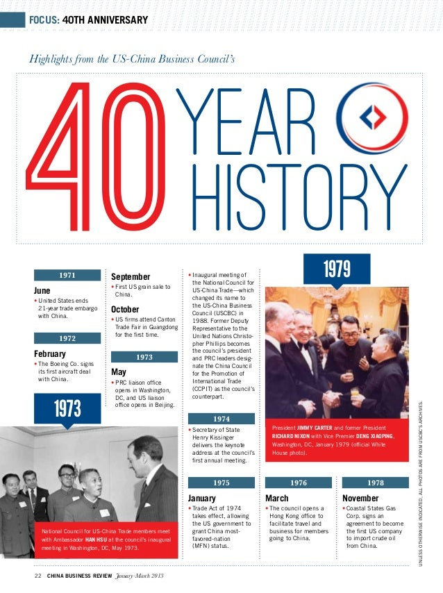 Focus: 40th ANNIVERSARYHighlights from the US-China Business Council's40 June           1971 •United States ends   21-yea...