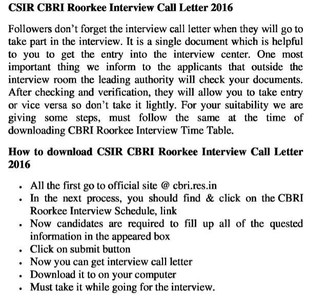 Cbri roorkee jobs 2016 interview call letter soon update exam result