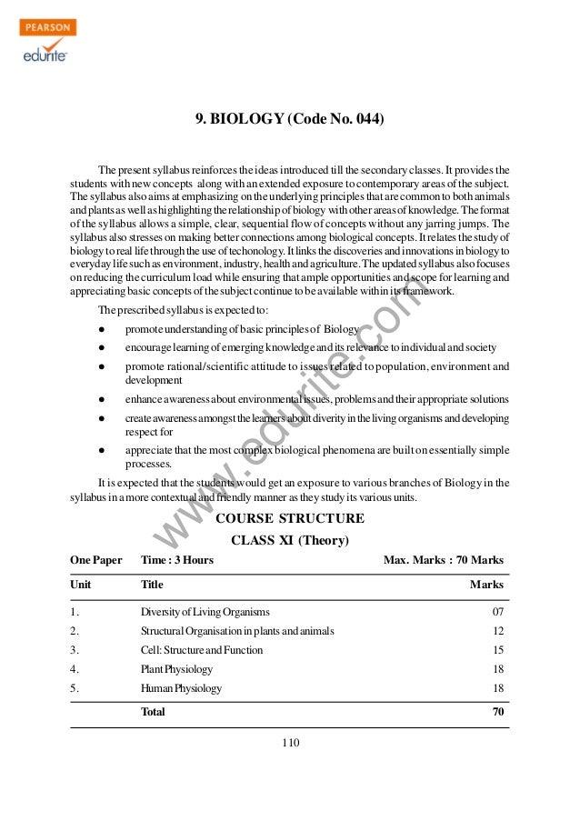 Class 11 Cbse Biology Syllabus 2012-13