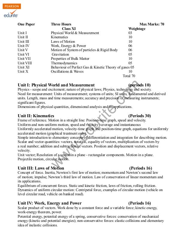 w w w .edurite.com Class XI Physics Syllabus 2012 One Paper Three Hours Max Marks: 70 Class XI Weightage Unit I Physical W...