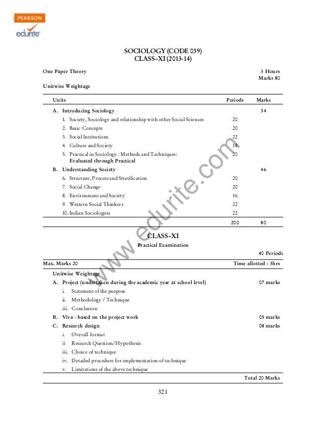 w w w .edurite.com 321 SOCIOLOGY (CODE 039) CLASS–XI (2013-14) One Paper Theory 3 Hours Marks 80 Unitwise Weightage Units ...