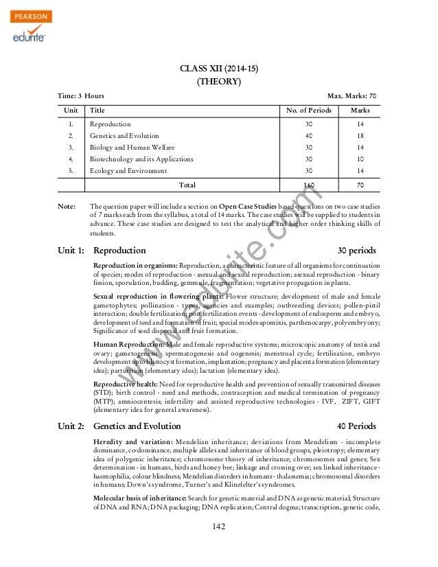 Class 12 Cbse Biology Syllabus 2014-15