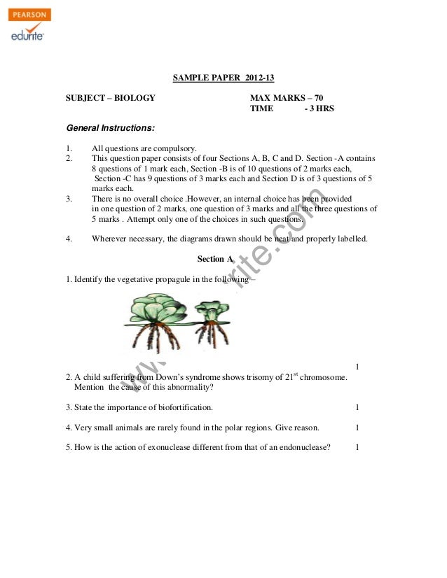 Cbse Class 12 Biology Sample Paper 2012-13 Model 2