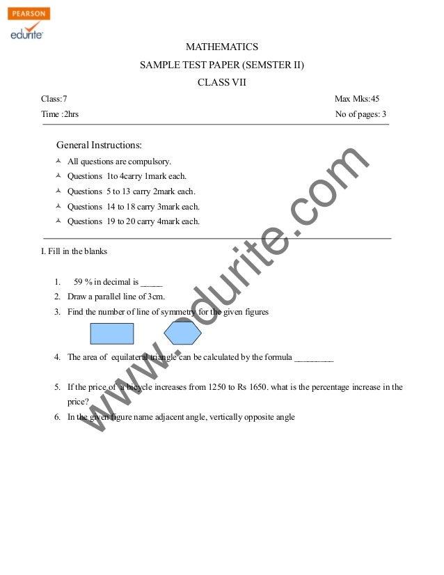 Class 7 Cbse Maths Sample Paper Term 2 Model 2