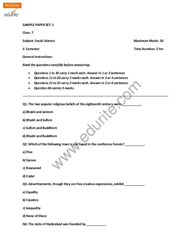 SAMPLE PAPER SET: 1  Class: 7  Subject: Social Science Maximum Marks: 50  II Semester Time Duration: 2 hrs  General Instru...