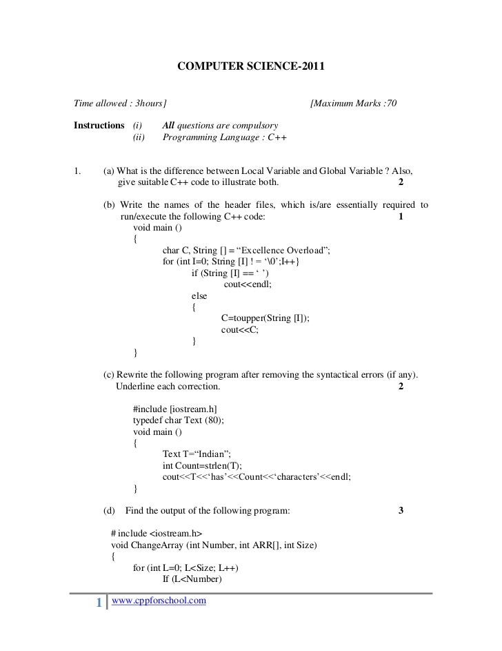 COMPUTER SCIENCE-2011Time allowed : 3hours]                                        [Maximum Marks :70Instructions (i)     ...