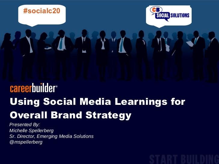 Using Social Media Learnings for Overall Brand Strategy Presented By:  Michelle Spellerberg  Sr. Director, Emerging Media ...