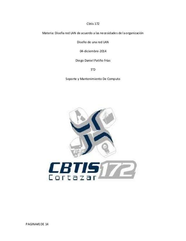 PAGINA#1 DE 14  Cbtis 172  Materia: Diseña red LAN de acuerdo a las necesidades de la organización  Diseño de una red LAN ...