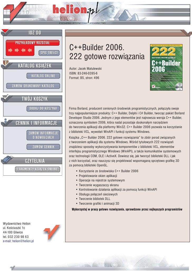 C++Builder 2006. 222 gotowe rozwiązania