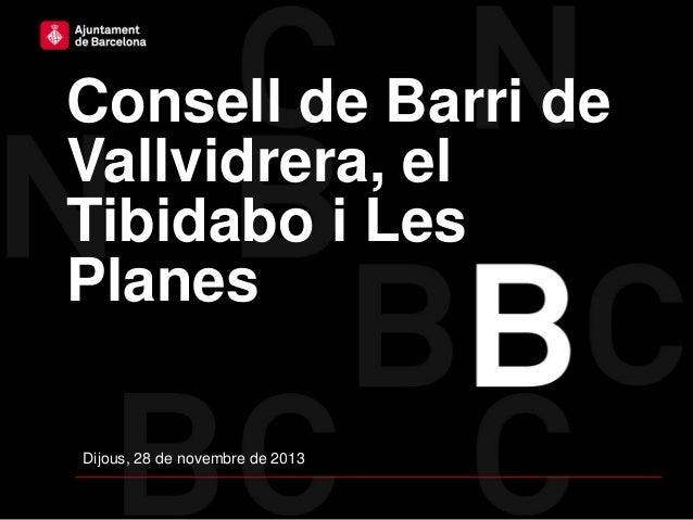 Consell de Barri de Vallvidrera, el Tibidabo i Les Planes Dijous, 28 de novembre de 2013