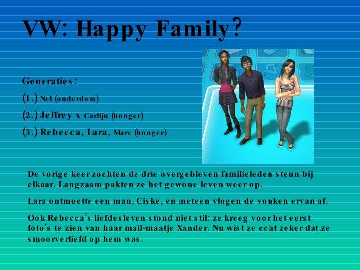 VW: Happy Family? Generaties: (1.)  Nel (ouderdom) (2.) Jeffrey x  Carlijn (honger) (3.) Rebecca, Lara,  Marc (honger) De ...