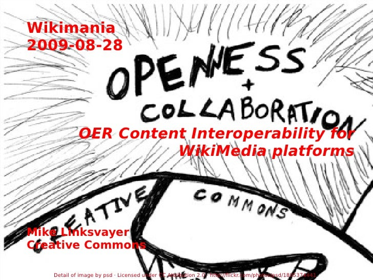 Wikimania 2009-08-28 OER Content Interoperability for WikiMedia platforms Mike Linksvayer Creative Commons Detail of image...