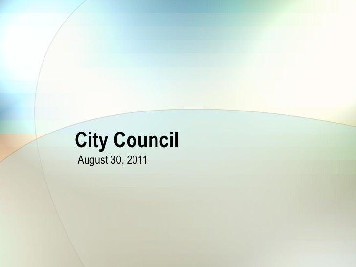 City Council August 30, 2011 City Clerk Election Presentation on SB100