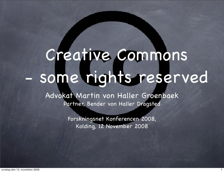 Creative Commons                  - some rights reserved                                Advokat Martin von Haller Groenbae...