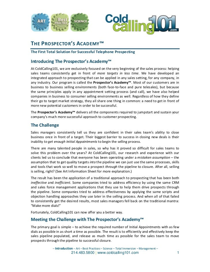 THE PROSPECTOR'S  ACADEMY™   The First Total Solution for Successful Telephone Prospecting   Introducing The Prospector's ...