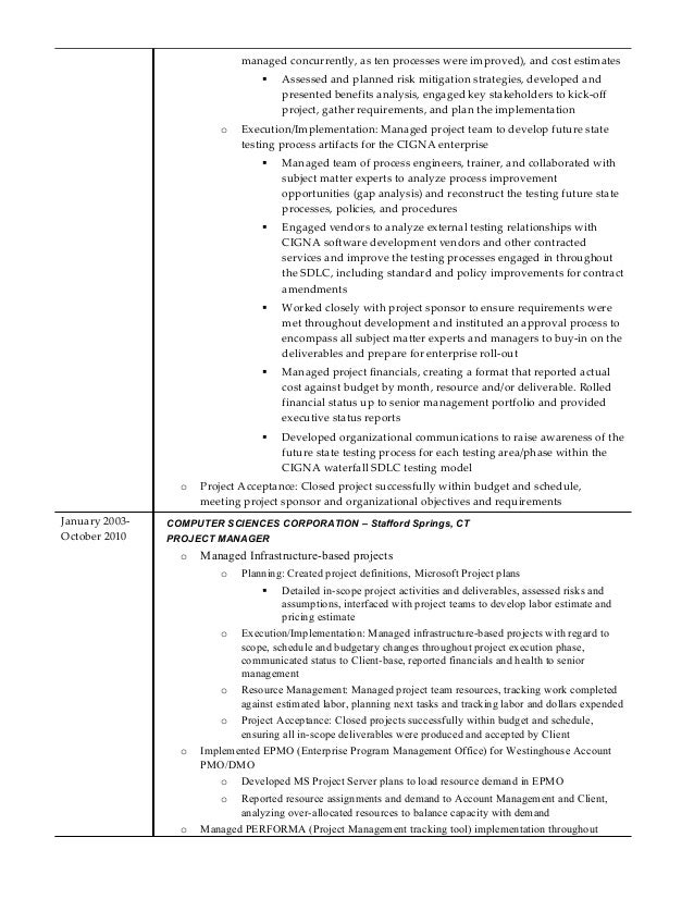 Senior project manager resume template