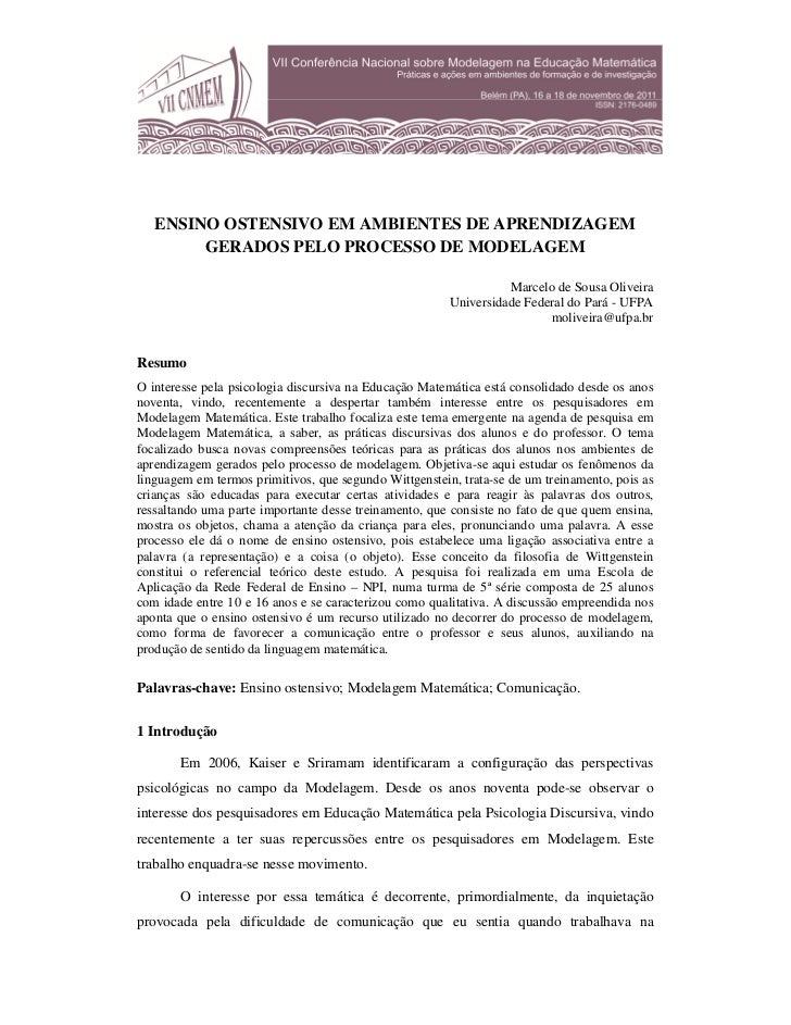 ENSINO OSTENSIVO EM AMBIENTES DE APRENDIZAGEM        GERADOS PELO PROCESSO DE MODELAGEM                                   ...
