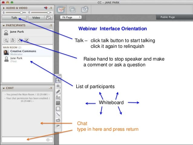 Webinar Interface OrientationWhiteboardChattype in here and press returnList of participantsTalk – click talk button to st...