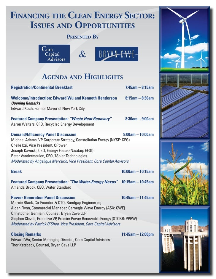 Financing the clean energy Sector:      iSSueS and opportunitieS                                  preSented By            ...