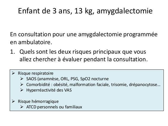 Enfant de 3 ans, 13 kg, amygdalectomie En consultation pour une amygdalectomie programmée en ambulatoire. 1. Quels sont le...