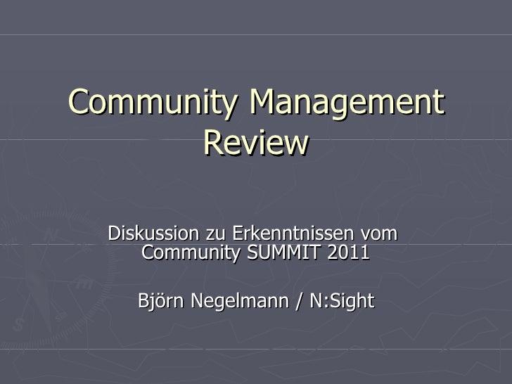 Review Community Management SUMMIT 2011