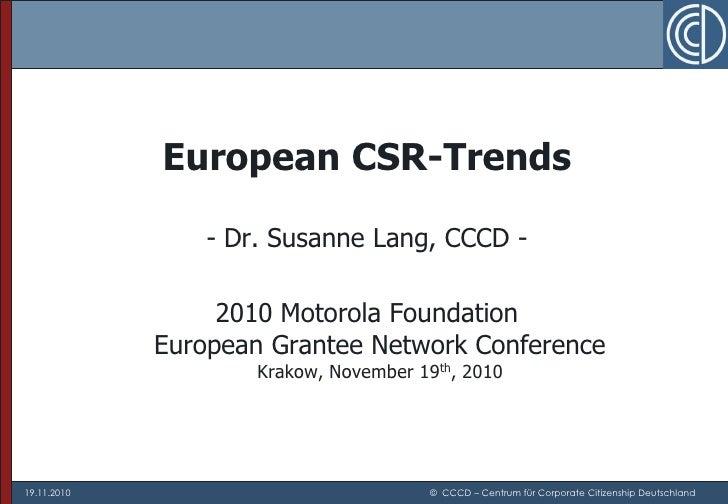 CSR Trends in Europe 2011
