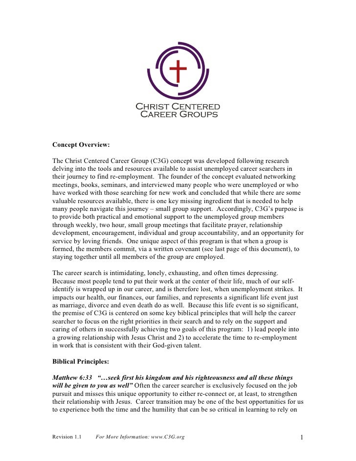 Concept Overview:The Christ Centered Career Group (C3G) concept was developed following researchdelving into the tools and...