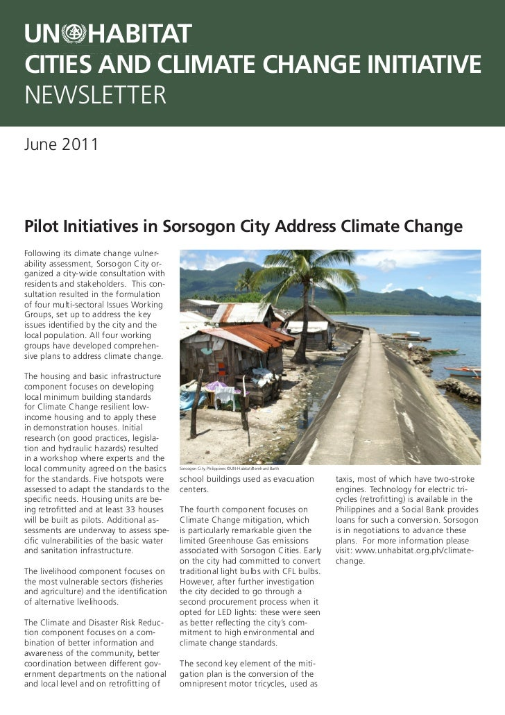CITIES AND CLIMATE CHANGE INITIATIVENEWSLETTERJune 2011Pilot Initiatives in Sorsogon City Address Climate ChangeFollowing ...