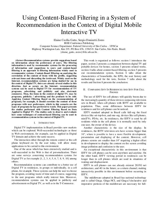 Using content-based filtering in a system of recommendation in the context of digital mobile interactive tv